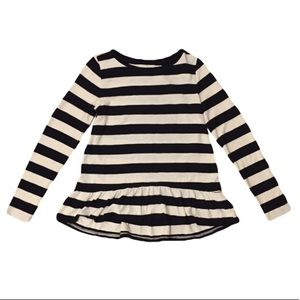 Ann Taylor Loft Black and Ivory Striped Sweater